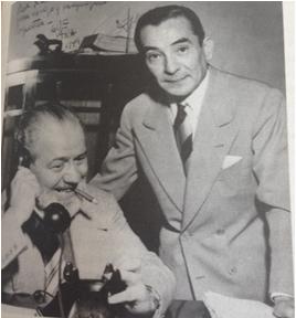 Barão de Itararé ao lado de Andrés Guevara, artista gráfico paraguaio, companheiro de empreitadas jornalísticas, em 1949 (fonte: Entre sem Bater, a Vida de Apparicio Torelly, o Barão de Itararé)